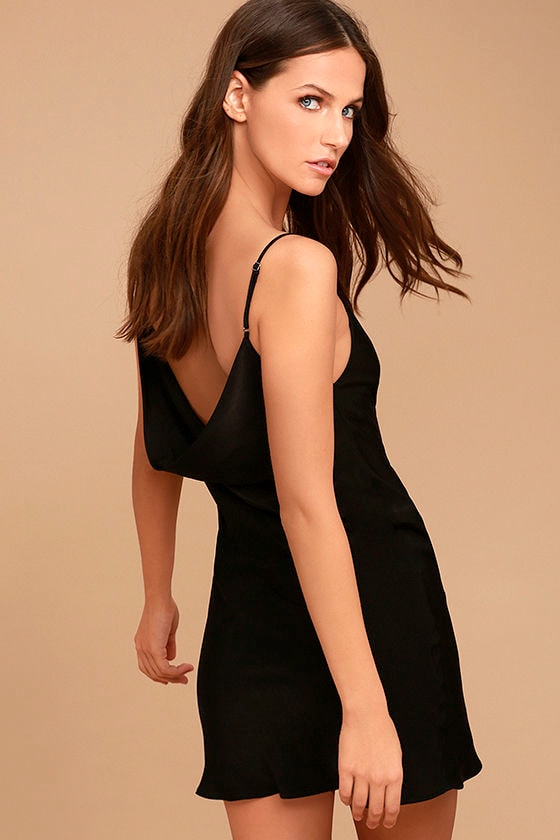 Make a Move Black Slip Dress 1