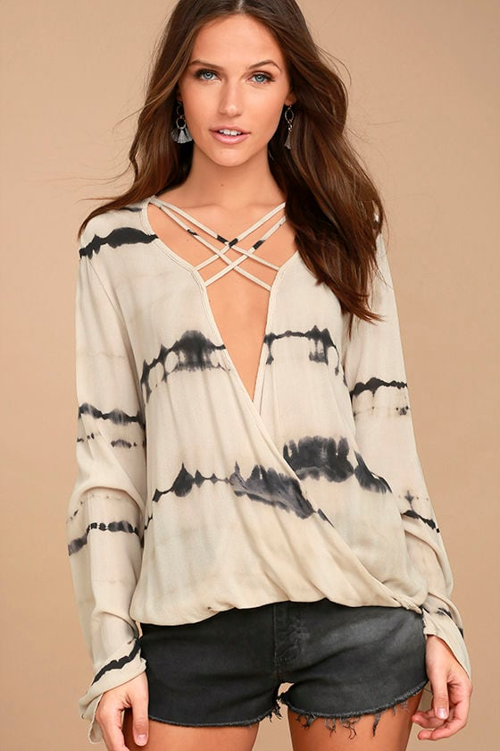California Current Beige Tie-Dye Long Sleeve Top 1