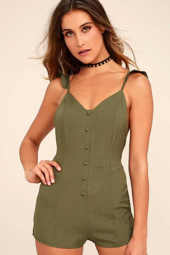 9a40df71a4 Cute Olive Green Romper - Sleeveless Romper - Backless Romper - Lace ...