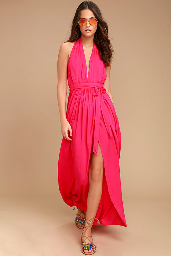 lovely hot pink dress - maxi dress - wrap dress