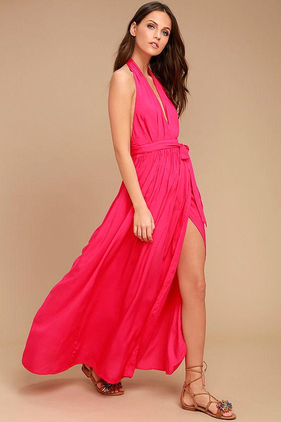 Magical Movement Hot Pink Wrap Maxi Dress 2