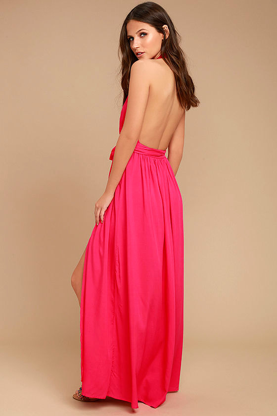 Magical Movement Hot Pink Wrap Maxi Dress 3