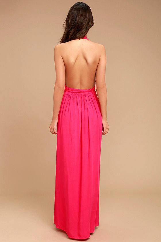 Magical Movement Hot Pink Wrap Maxi Dress 4