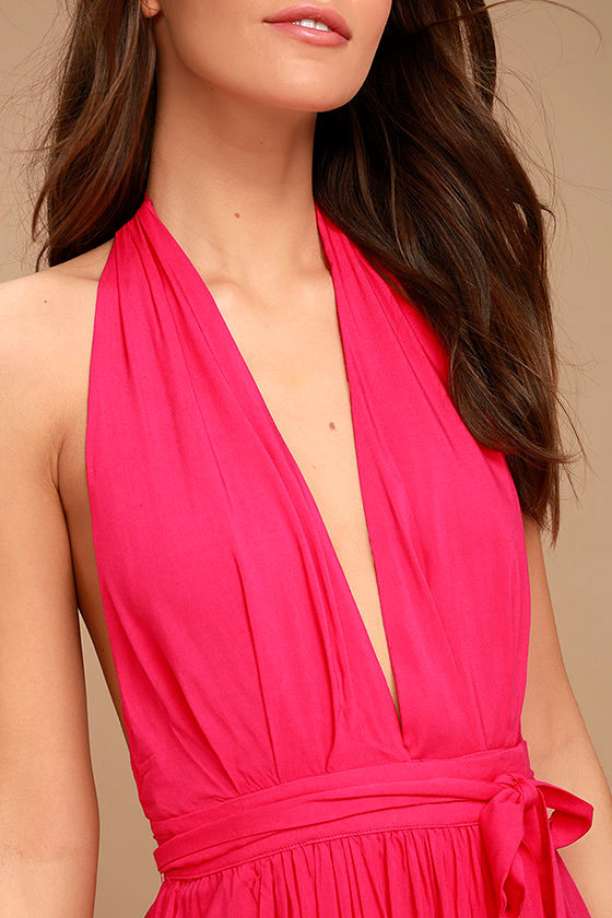 Magical Movement Hot Pink Wrap Maxi Dress 5