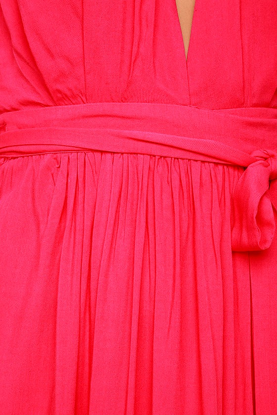 Magical Movement Hot Pink Wrap Maxi Dress 6