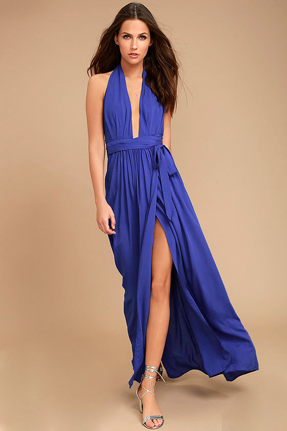 Lovely Royal Blue Dress - Maxi Dress - Wrap Dress - $49.00