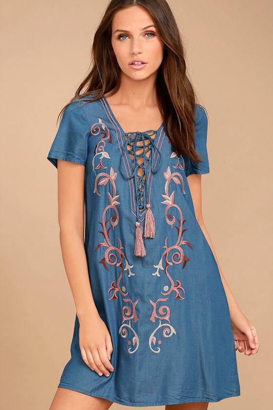Down in Kokomo Blue Chambray Embroidered Shift Dress 1