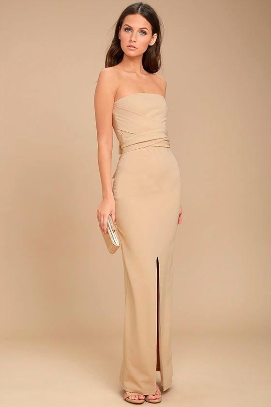 Own the Night Beige Strapless Maxi Dress 1