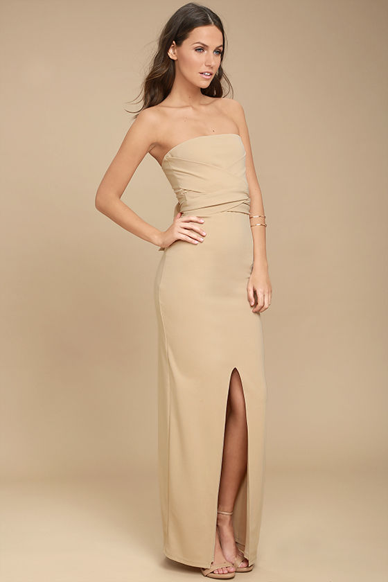 Own the Night Beige Strapless Maxi Dress 3