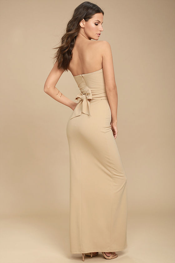 Own the Night Beige Strapless Maxi Dress 4