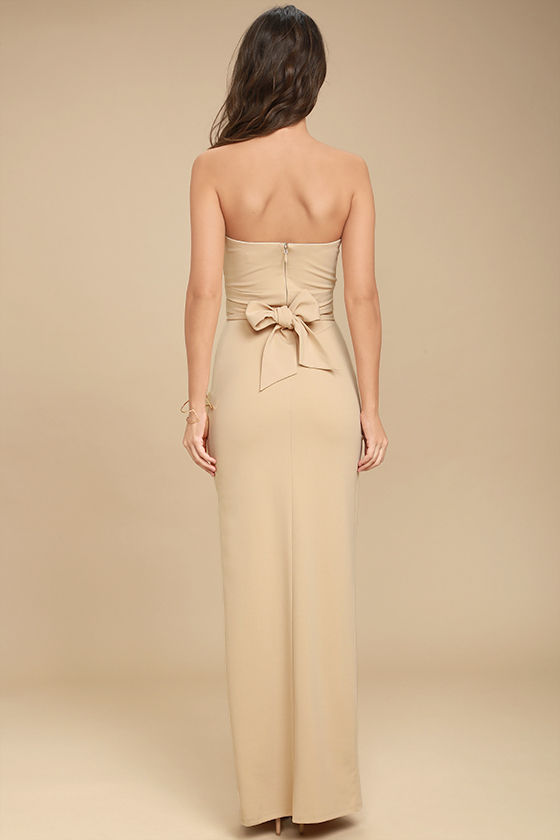 Own the Night Beige Strapless Maxi Dress 5