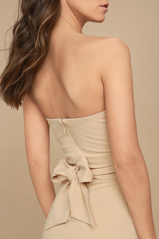 Own the Night Beige Strapless Maxi Dress 6