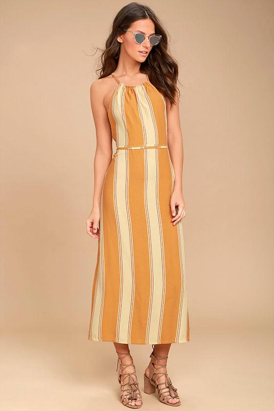 Faithfull the brand tuscany yellow striped dress midi for Ray donovan white dress shirt brand