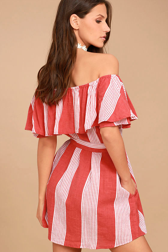 Faithfull the Brand Amalfi Rust Red Striped Dress 3