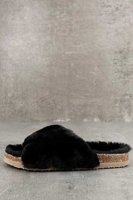 BC Footwear Myth Black Faux Fur Slide Sandals 1