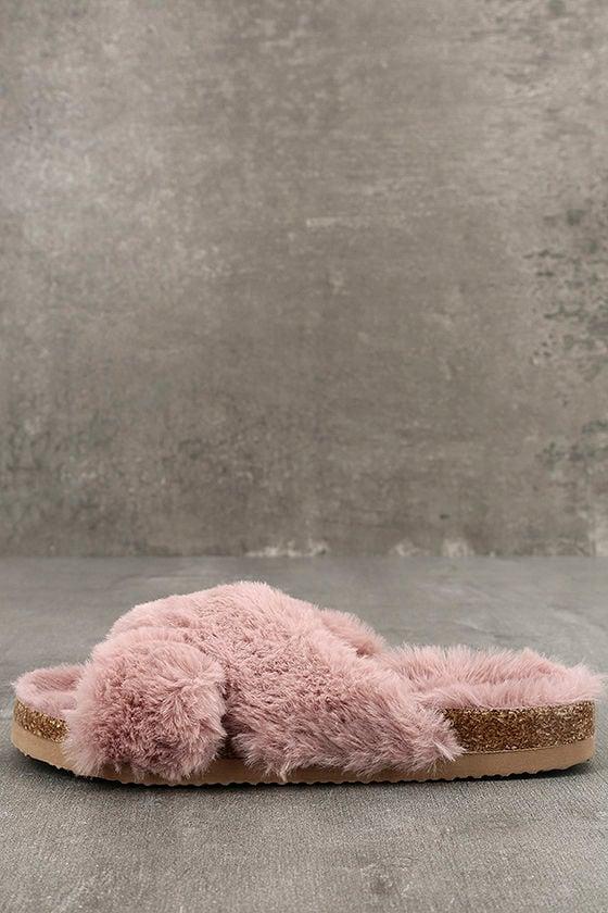 BC Footwear Myth Light Pink Faux Fur Slide Sandals 1
