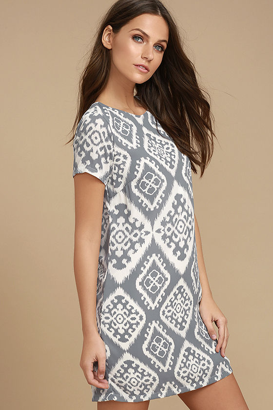 Give Me a Print Slate Grey Print Shift Dress 3