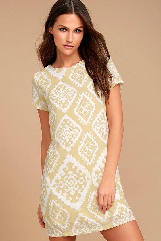 Give Me a Print Beige Print Shift Dress 1