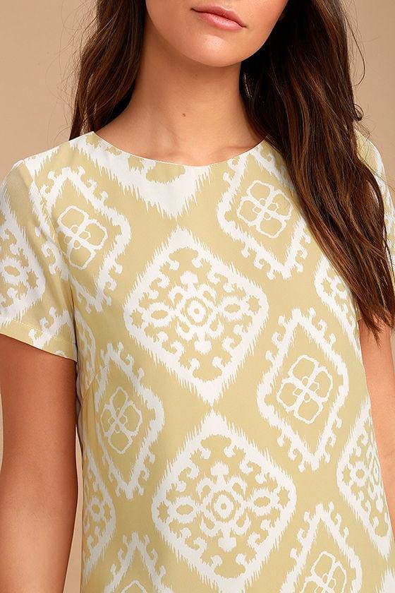 Give Me a Print Beige Print Shift Dress 5