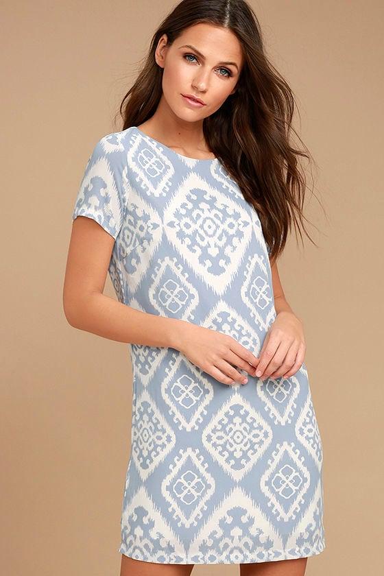 Give Me a Print Light Blue Print Shift Dress 1