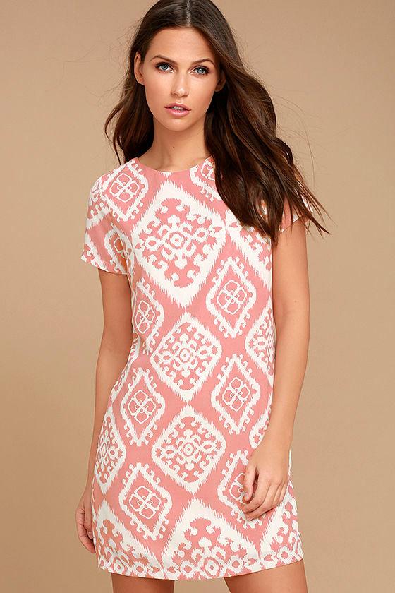 769575f5c127 Cute Print Dress - Blush Pink Print Dress - Shift Dress