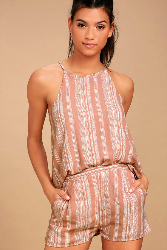 See You Smile Blush Pink Striped Romper 1