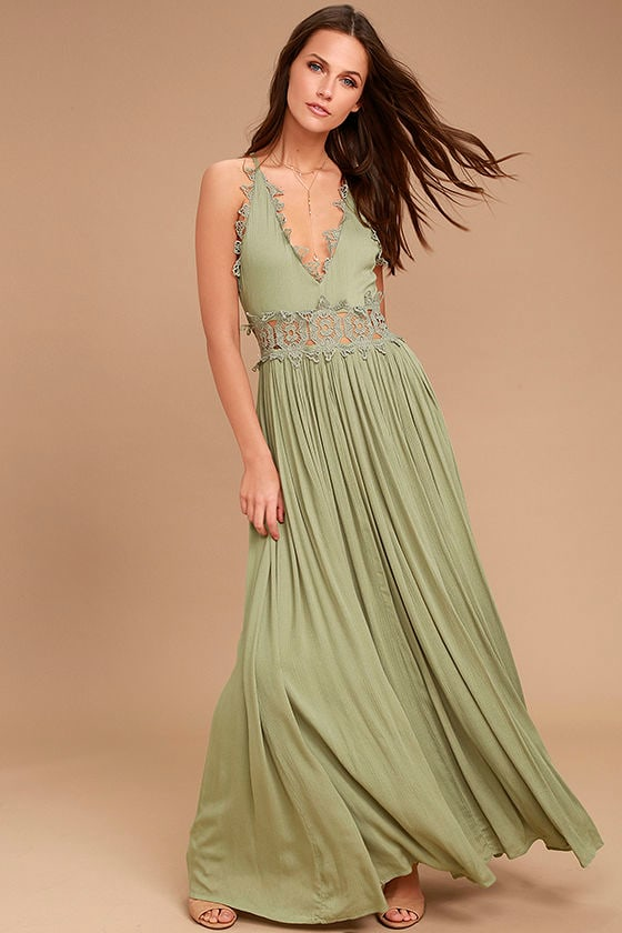 bb2d80a9319 Sage Green Maxi Dress - Lace Maxi Dress - Plunge Neck Maxi