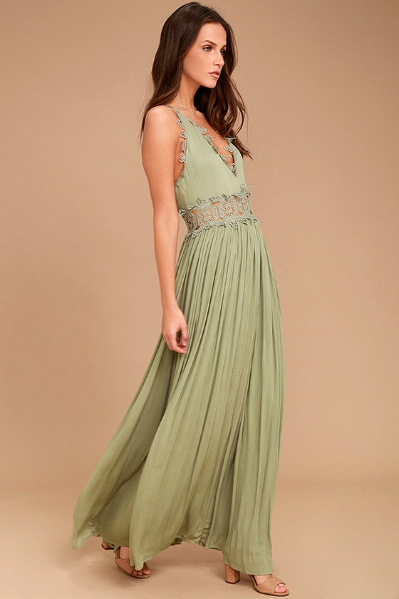 This is Love Sage Green Lace Maxi Dress 2