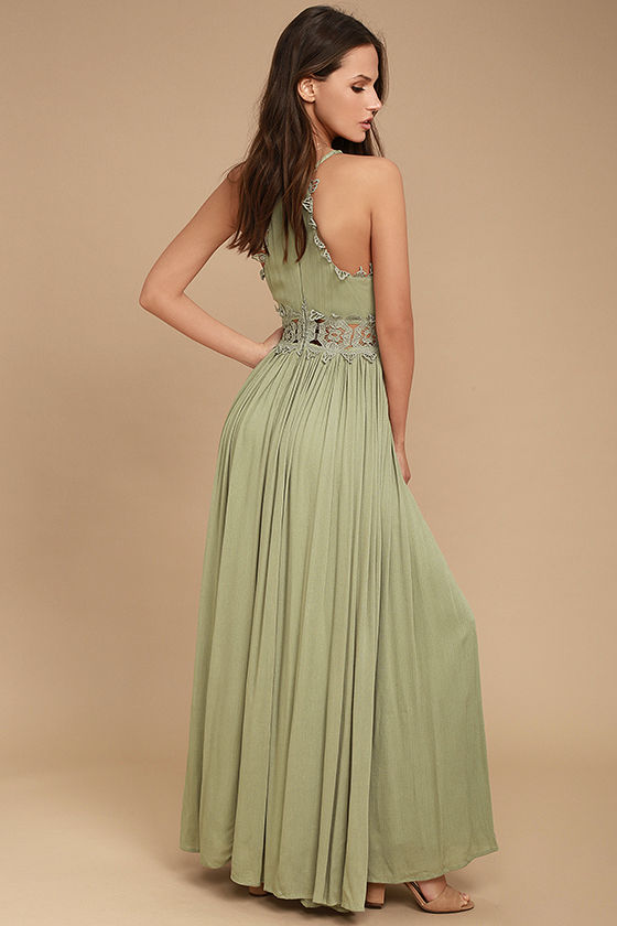 This is Love Sage Green Lace Maxi Dress 3