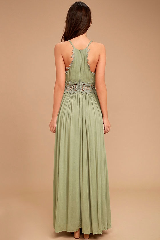 This is Love Sage Green Lace Maxi Dress 4