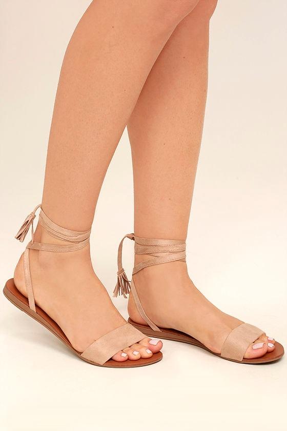 Cute Natural Sandals Lace Up Sandals Flat Sandals 18 00