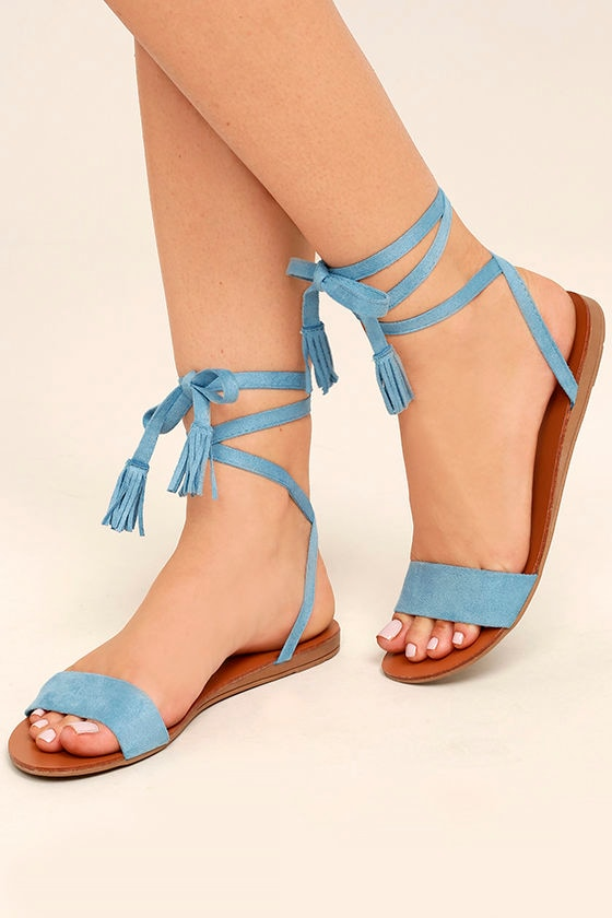 12c50bcc9 Cute Blue Sandals - Lace-Up Sandals - Flat Sandals -  18.00