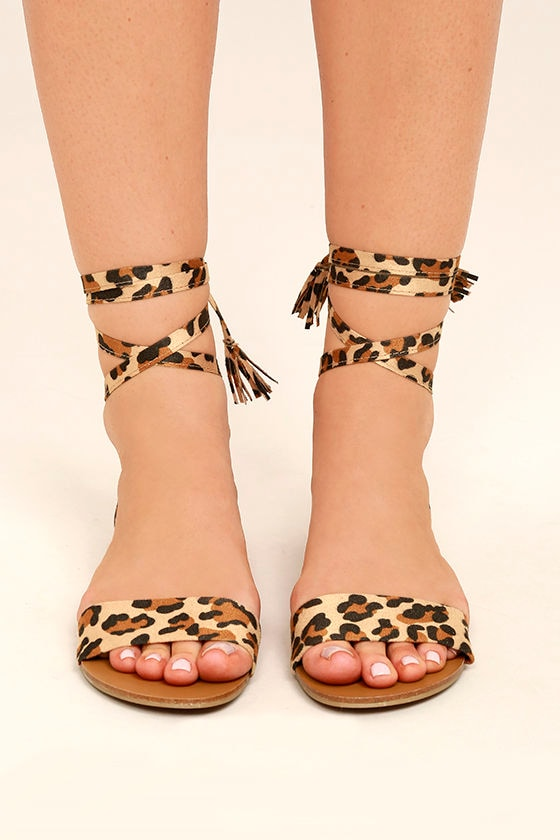 Francoise Leopard Lace-Up Sandals 2