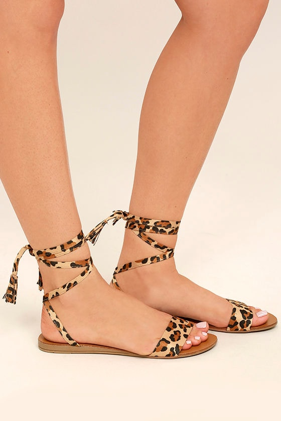 Francoise Leopard Lace-Up Sandals 3