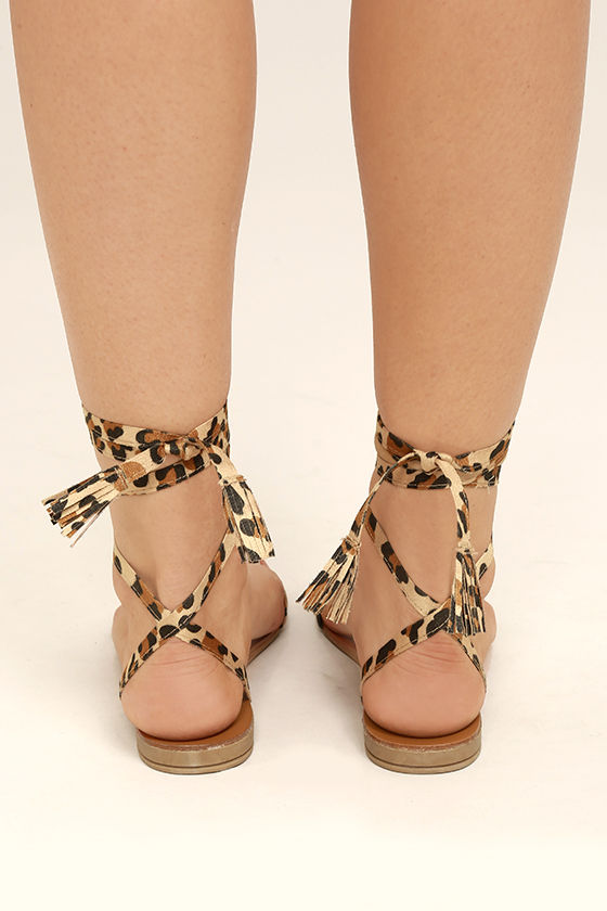 Francoise Leopard Lace-Up Sandals 4