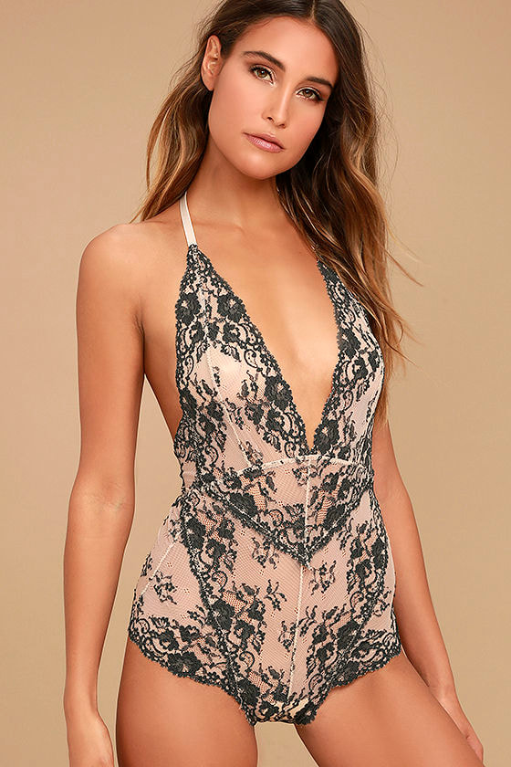 Free People Too Cute To Handle Grey and Blush Lace Bodysuit 1