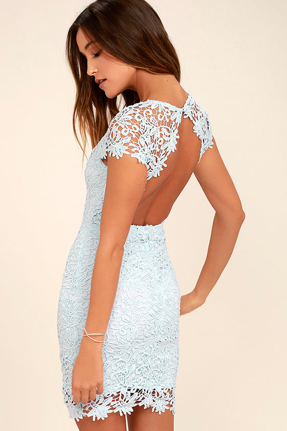 Cute Backless Dress - Light Blue Dress - Lace Dress - $58.00