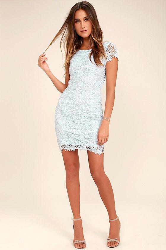 836db7af0d Cute Backless Dress - Light Blue Dress - Lace Dress -  58.00