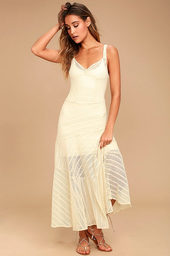 bf67f333f039 Free People Love Story - Cream Lace Slip - Maxi Slip - Lace Slip Dress