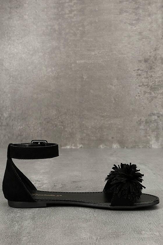 Jocasa Black Suede Fringe Flat Sandals 4