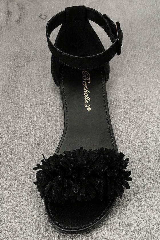 Jocasa Black Suede Fringe Flat Sandals 5