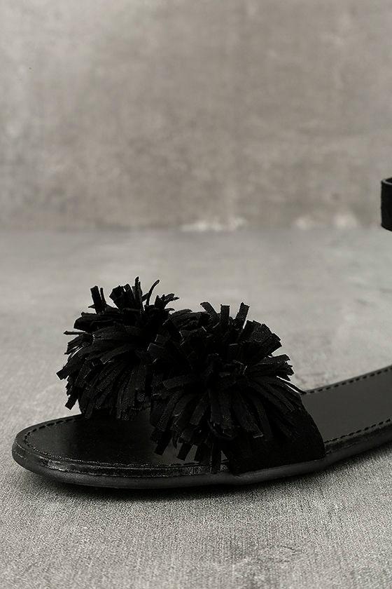 Jocasa Black Suede Fringe Flat Sandals 6