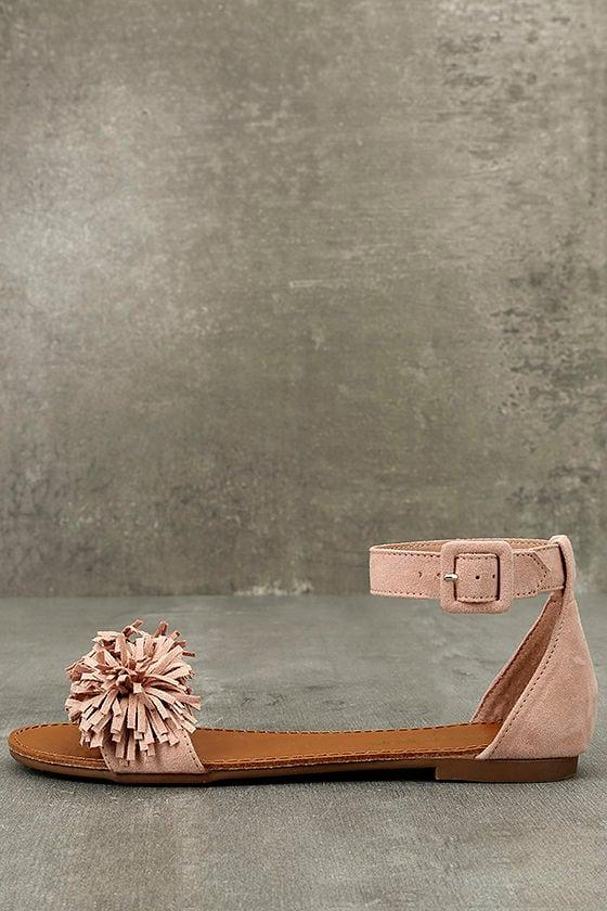 c8e754b10 Cute Blush Sandals - Vegan Fringe Sandals - Blush Pompom Sandals - $24.00