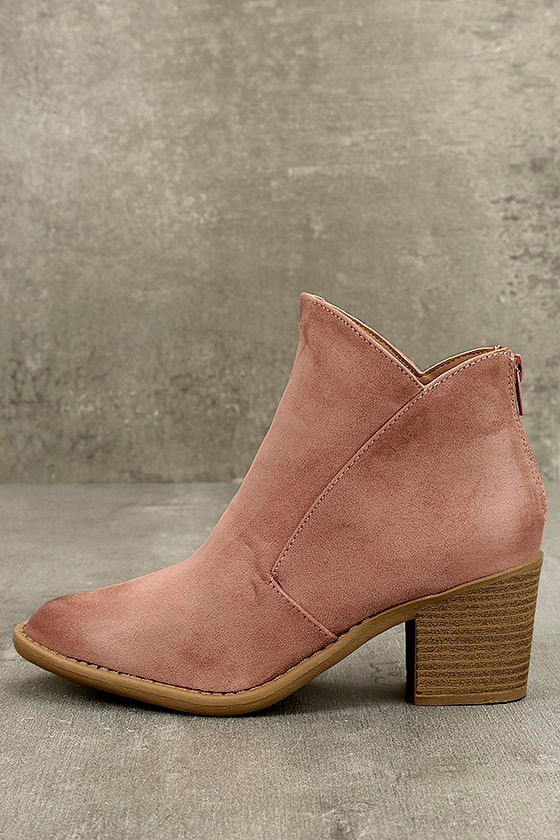 f9140bc383b Noelani Mauve Suede Ankle Booties