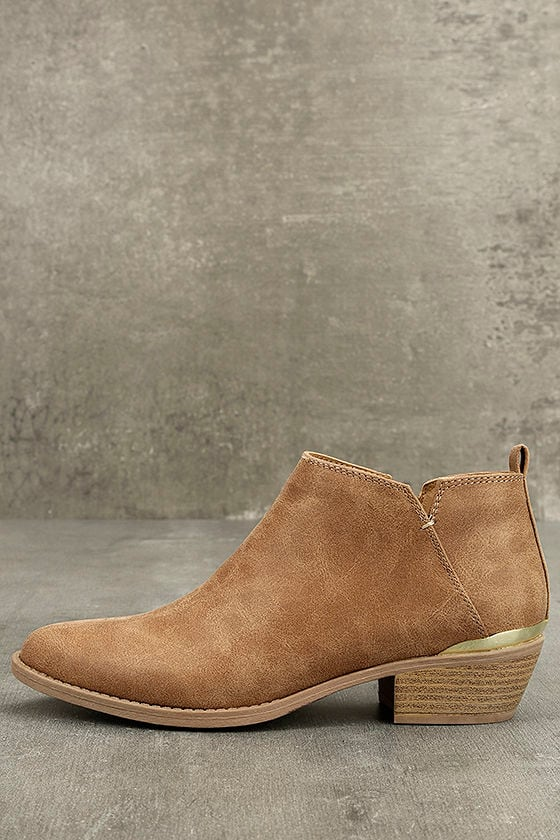 Marzia Camel Distressed Ankle Booties 1