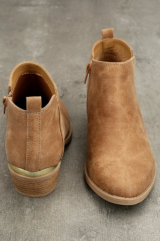 Marzia Camel Distressed Ankle Booties 3