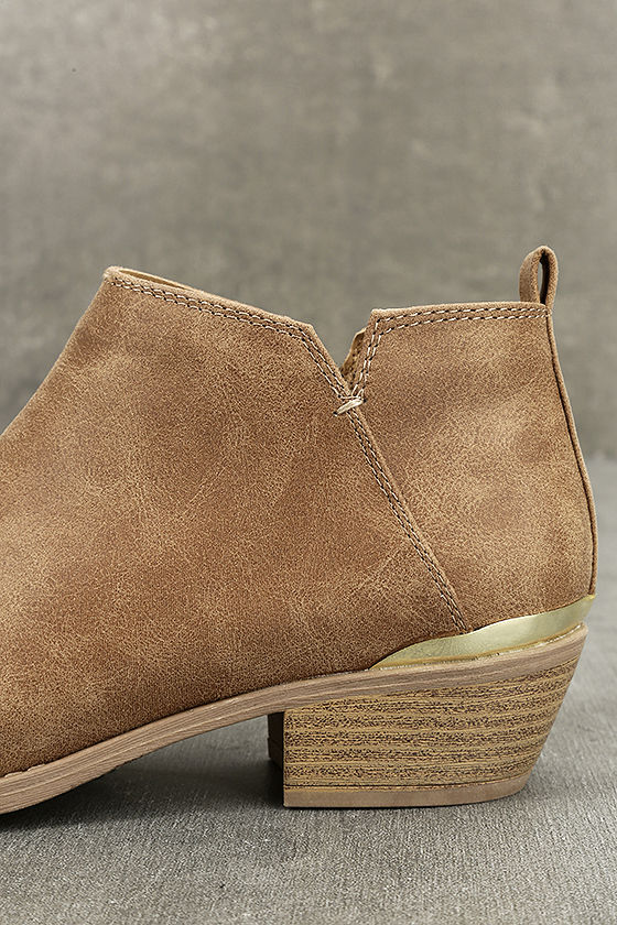 Marzia Camel Distressed Ankle Booties 7
