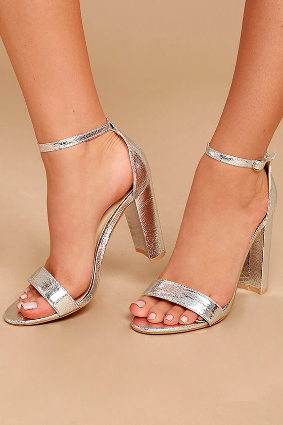 Glamorous Ceara Silver Ankle Strap Heels 2