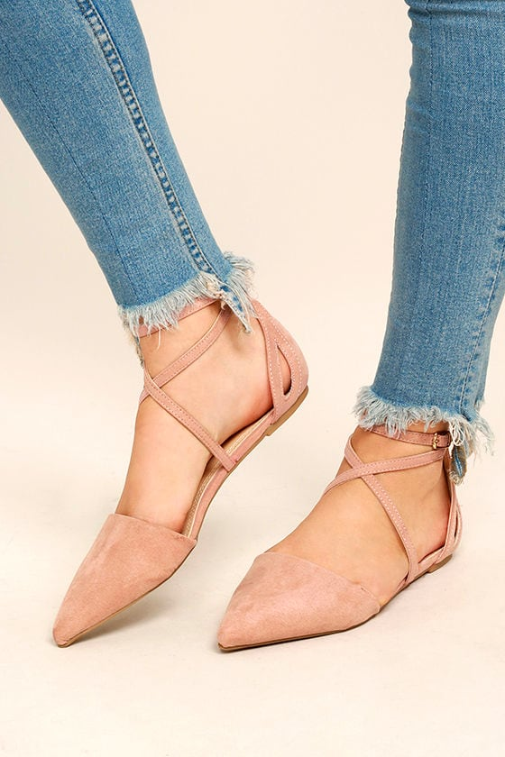 Chic Blush Flats - Pointed Suede Flats