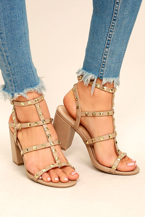 ac90c369eb Natural Studded Heels - Studded Block Heels - Ankle Strap Heels